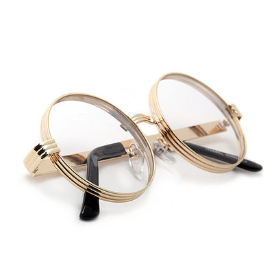 Iconic 52mm Thick Triple Ring Round Metal Frame Eyewear - Sunglass Spot