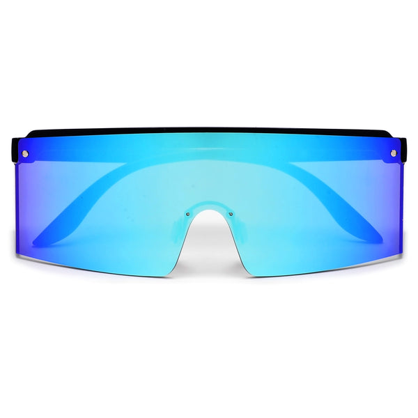 Oversize 140mm Modern Half Frame Colorful Shield Sunnies