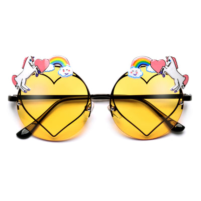 Cute Unicorn Decorated Round Heart Sunglasses - Sunglass Spot