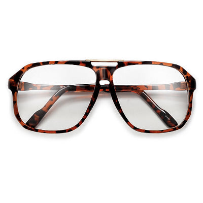 62mm Retro Square Clear Lens 70's Style Eyewear Glasses - Sunglass Spot
