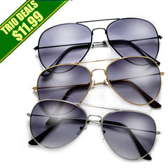 3 Pack Classic Metal Aviator Sunglasses