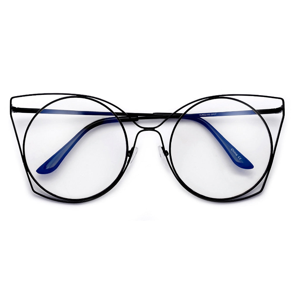 Round Thin Metal Cutout Cat Eye Fashion Eyewear