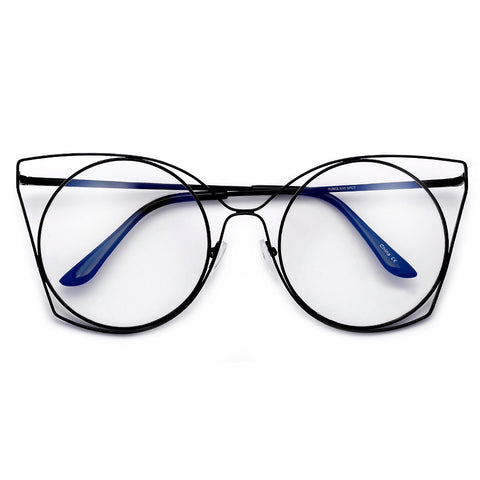 Rimless Studded Half Frame Cat Eye Silhouette Eye Wear