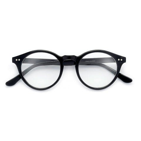 Retro Inspired Half Frame Semi-Rimless Charcoal Gray Clear Lens Clubmaster Style Glasses