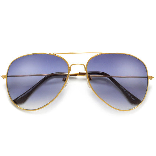 Original Classic 60mm Gold Rim Gradient Lens Sleek Aviator Sunglasses
