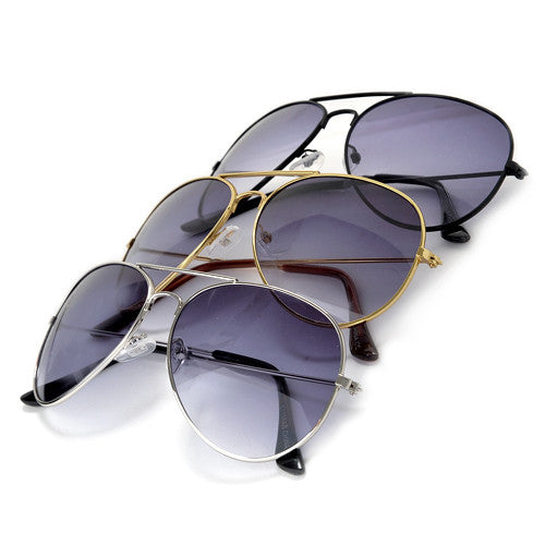 3 Pack Classic Metal Aviator Sunglasses - Sunglass Spot