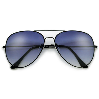 Original Classic Sleek Black Nickel Finish High Quality Aviator Sunglasses - Sunglass Spot