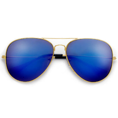 60mm Classic Nickel Finish Gold Frame Colorful Revo Lens Aviator - Sunglass Spot