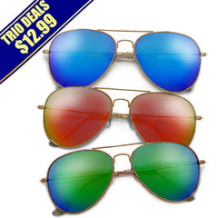 3 Pack Original Classic Nickel Finish Gold Frame Colorful Revo Lens Aviator Sunglasses