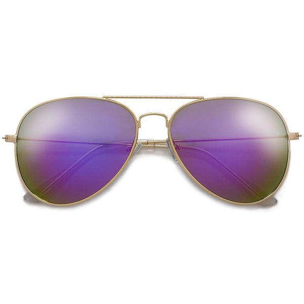 Original Classic Nickel Finish Colorful Reflective Lens Aviator Sunglasses