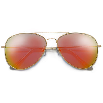 Original Classic Nickel Finish Colorful Reflective Lens Aviator Sunglasses - Sunglass Spot