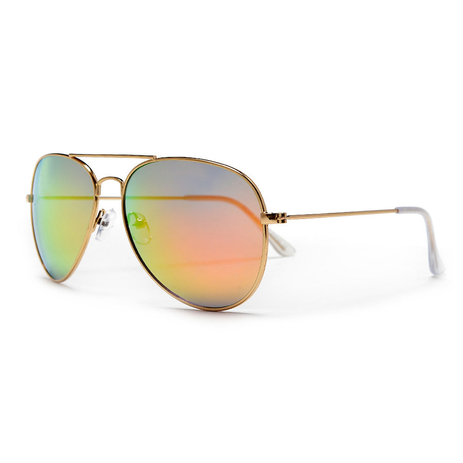 3 Pack Original Classic Nickel Finish Gold Frame Colorful Revo Lens Aviator Sunglasses - Sunglass Spot