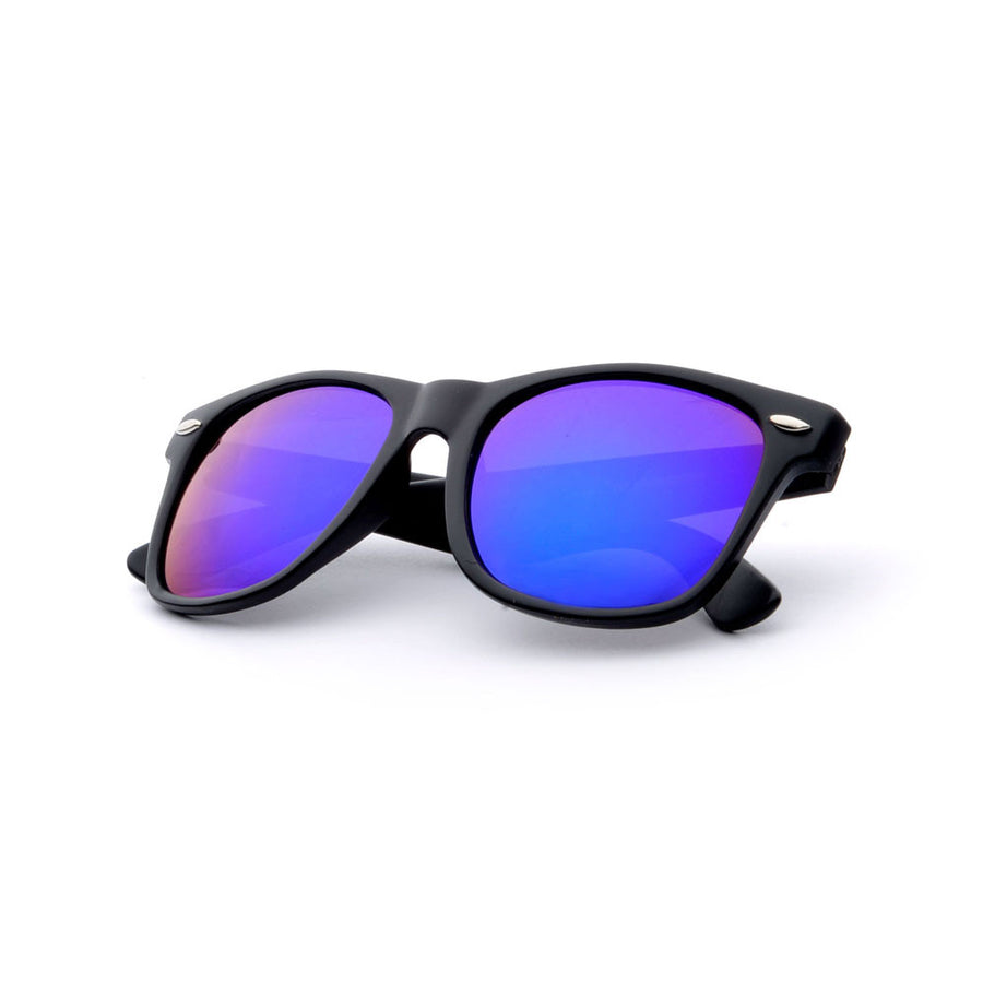 2 Pack Classic Matte Black Horn Rimmed Colorful Purple/Blue Mirrored Lens 80s Style Sunglasses - Sunglass Spot