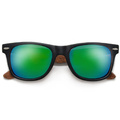 Smooth Matte Black Wayfarer with Inner Wood Print Frame