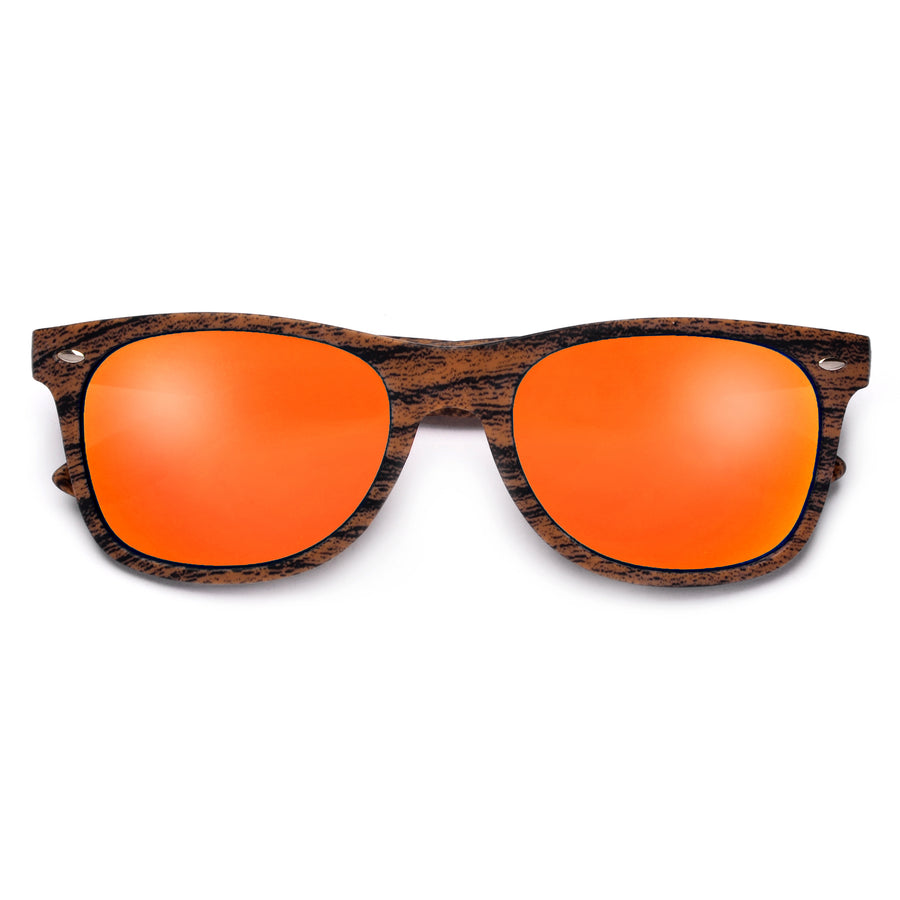 Classic 80's Wrapped Around a Wood Grain Finish Print Sunglasses - Sunglass Spot