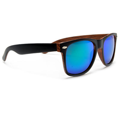 Smooth Matte Black with Inner Wood Print Frame - Sunglass Spot