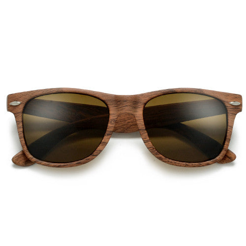 Classic Wayfarer Wrapped Around a Wood Grain Finish Print Sunglasses