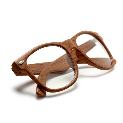 Nerdy Eco Friendly Wood Print Classic 80's Eyewear