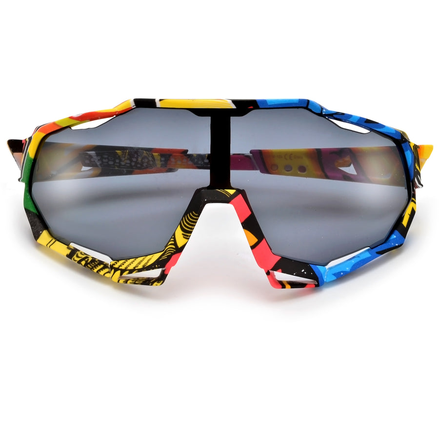 Bold Edgy Sport Ready Goggle Frame Sunglasses