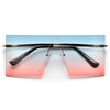 Rimless Rivet Decor Oversize Shield Sunnies - Sunglass Spot