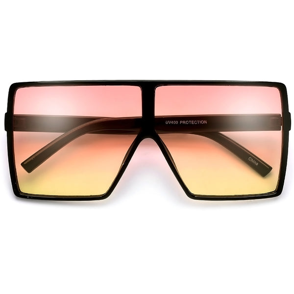 60mm Sleek Lightweight Large Classic Squared Off Aviator Sunglasses