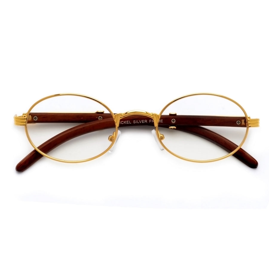 83276d0479d6 Vintage High Fashion Wood Temple Clear Oval Eyewear
