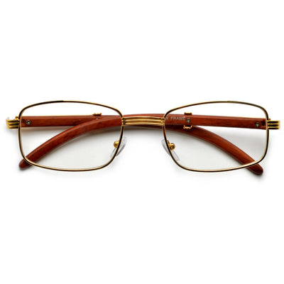 Contemporary Clear Eyewear with Wood Look Temples - Sunglass Spot