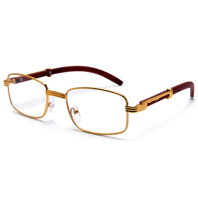 Contemporary Clear Eyewear with Wood Look Temples