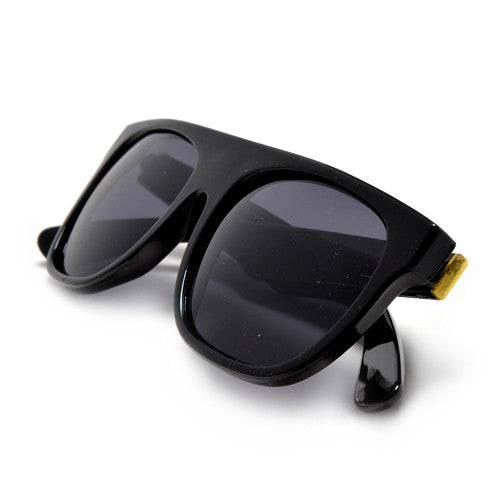 Ultra Modern 55mm Flat Top Gold Trim Temple Dark Shades - Sunglass Spot