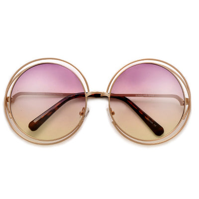 Oversized 62mm Round Boho Chic Metal Wire Frame Fashion Sunglasses