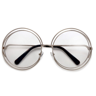 Oversized 62mm Round Boho Chic Metal Wire Frame Clear Fashion Eyewear - Sunglass Spot