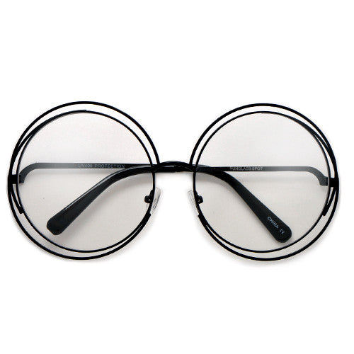 oversized 62mm round boho chic metal wire frame clear fashion eyewear - Wire Framed Glasses