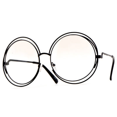 Oversized 62mm Round Boho Chic Metal Wire Frame Clear Fashion Eyewear