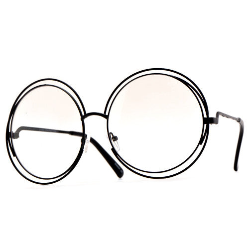 Oversized 62mm Round Boho Chic Metal Wire Frame Clear Fashion ...