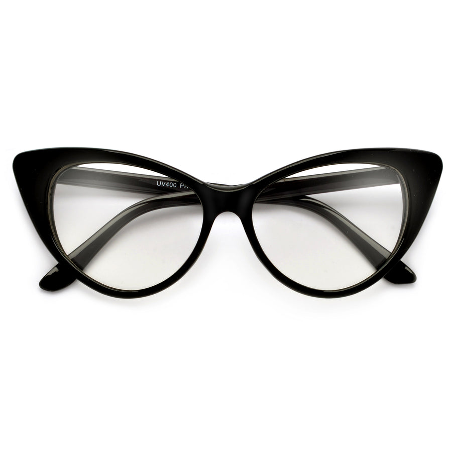 d54b887cf3 Super Cat Eye Vintage Inspired Fashion Mod Chic High Pointed Clear Eye Wear  Glasses