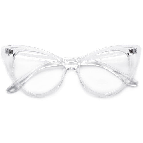 Super Cat Eye Vintage Inspired Fashion Mod Chic High Pointed Clear Frame Eyewear