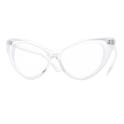 Super Cat Eye Vintage Inspired Fashion Mod Chic High Pointed Clear Frame Eyewear - Sunglass Spot