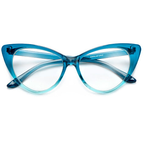 Colorful Ombre Super Cateyes Vintage Inspired Fashion Mod Chic High Pointed Clear Lens Eye Wear Glasses