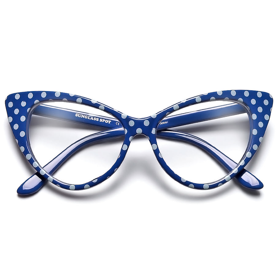 50s Inspired Polka Dot Cat Eye Clear Lens Eye Wear Glasses