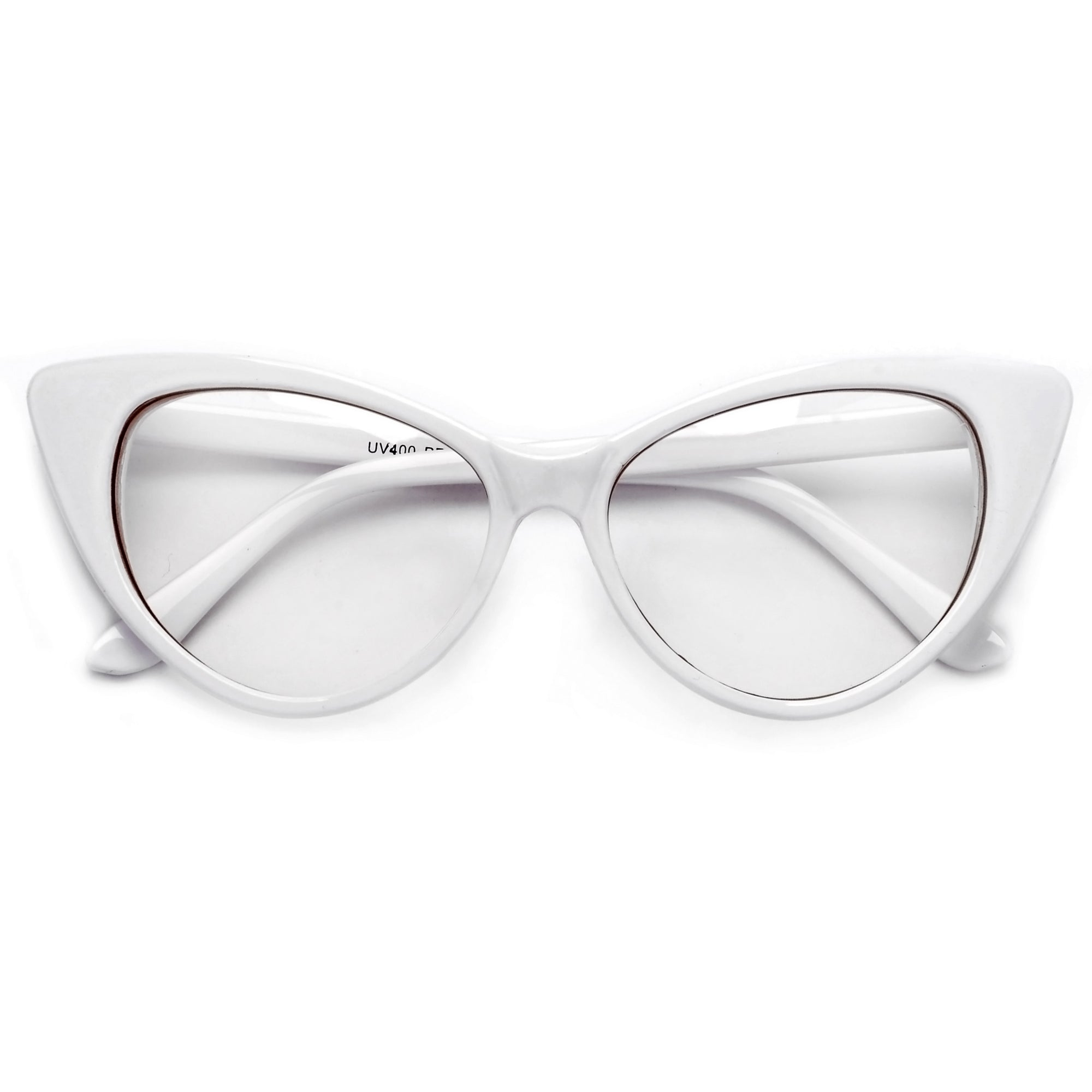 3016a58318 Super Cat Eye Vintage Inspired Fashion Mod Chic High Pointed Clear Eye Wear  Glasses