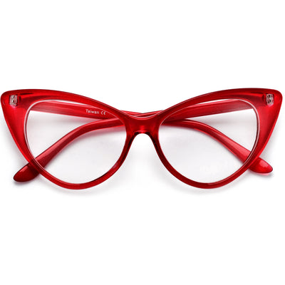 Super Cat Eye Vintage Inspired Fashion Mod Chic High Pointed Clear Eye Wear Glasses - Sunglass Spot