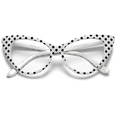 ee177b51cd7 50s Inspired Polka Dot Cat Eye Clear Lens Eye Wear Glasses ...