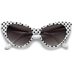 50s Inspired Polka Dot Cat Eye High Fashion Sunglasses