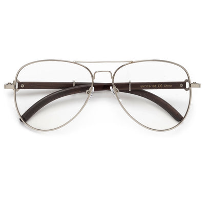 Wood Temple Clear Aviator