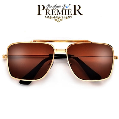 PREMIER COLLECTION-THICK PROMINENT BROW BAR SQUARED AVIATOR - Sunglass Spot