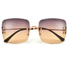 Designer Inspired Rimless Squared Horseshoe Temple Sunglasses