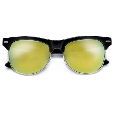 Retro Inspired Round Half Frame Colorful Reflective Lens Sunglasses