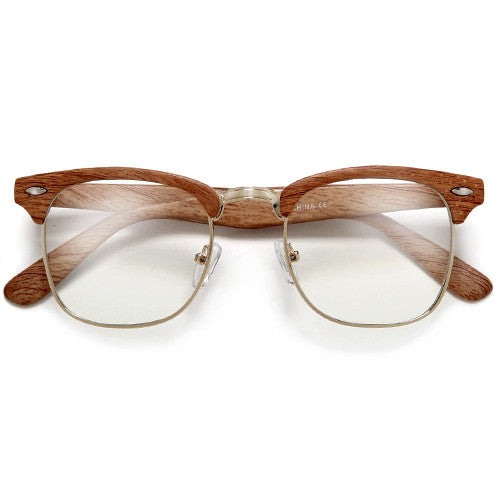Wood Grain Classic Half Frame Clubmaster Style Sunglasses