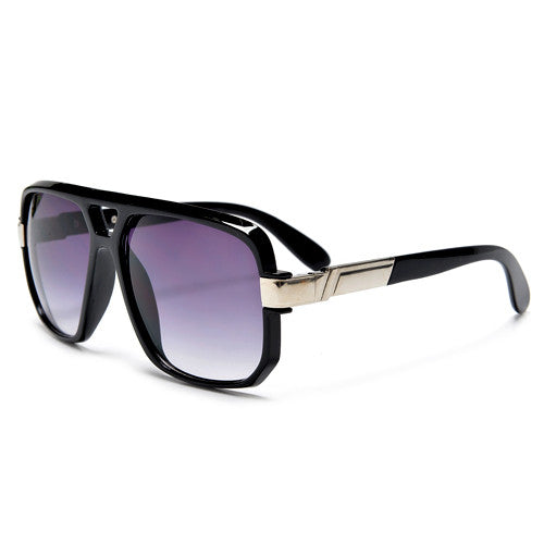 Large Square Frame Plastic Flat Top Aviator Sunglasses - Sunglass Spot