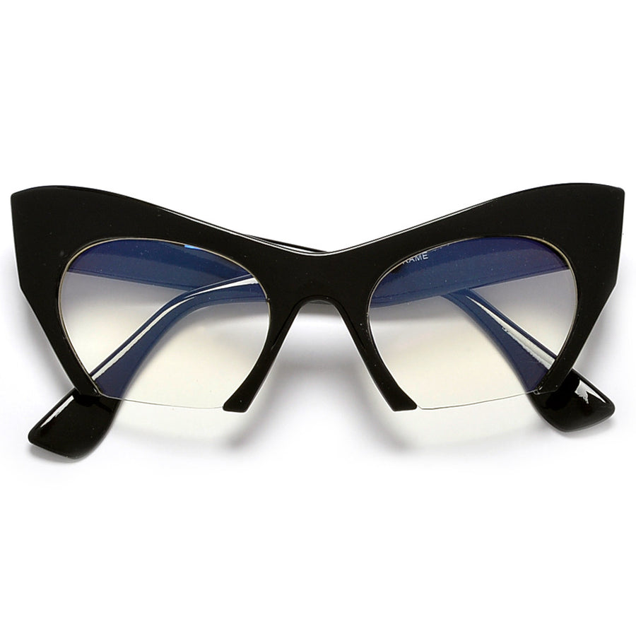 Sharp Rimless Bottom Modernized Cat-Eye Frame-High Fashion Designer Inspired Glasses - Sunglass Spot